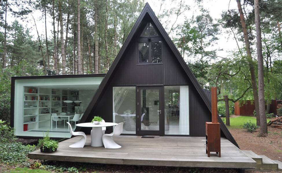 modern extension to a small a frame home