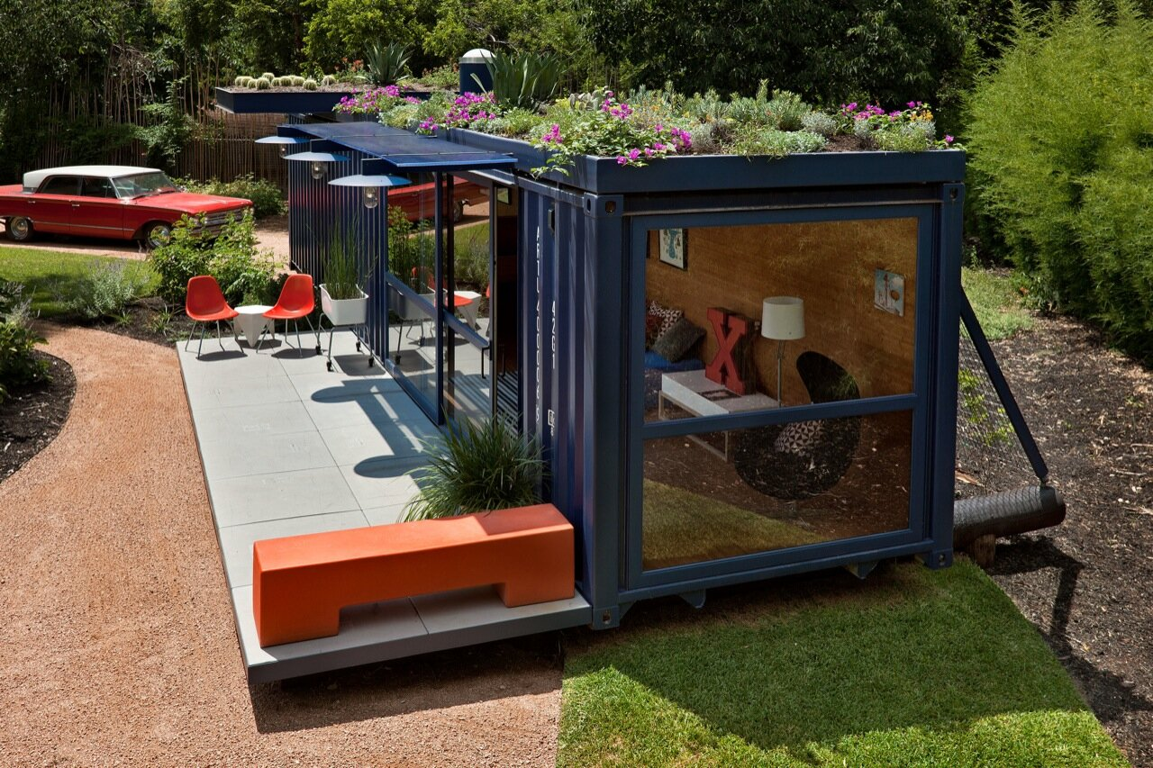 Container Home with a Green Roof by Poteet Architects