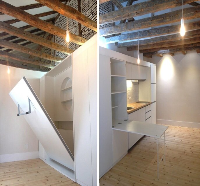 Enfoka 39 s madrid micro apartments are just 200 400 square for 200 sq ft living room design