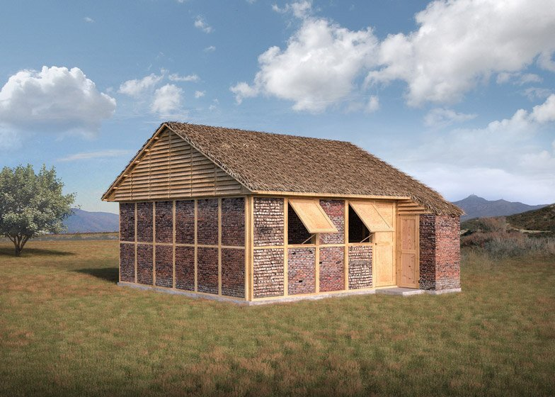Disaster housing with a cardboard roof by shigeru ban for Small house design in nepal