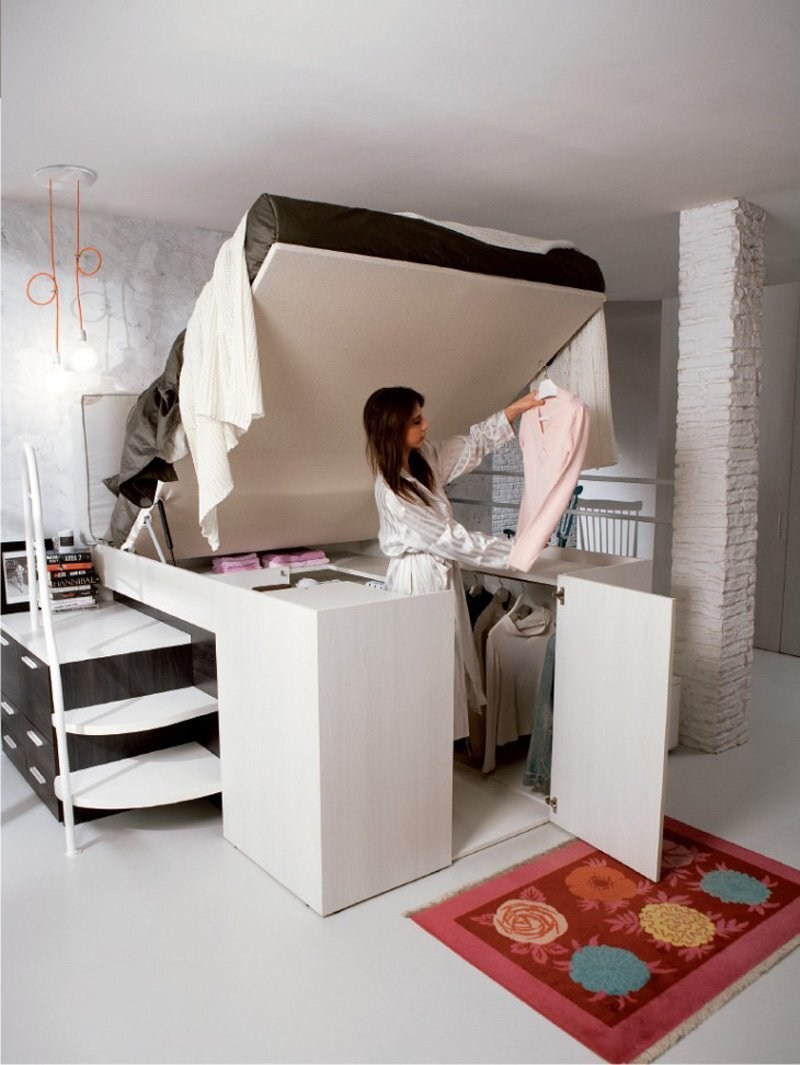 Tiny house furniture - Lift up under bed storage ...