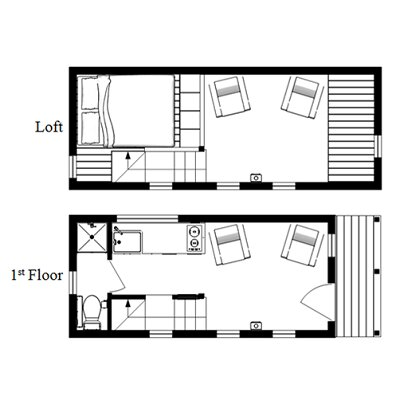 The mcg loft a tiny house with a staircase humble homes for Small house floor plans with loft
